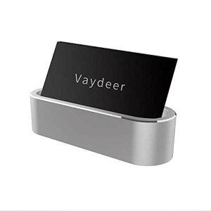 名刺ディスプレイ,Vaydeer金属アルミ名刺ディスプレイ収納ケースシンプルアルミ名入れファッションスタンドデスクトップ収納ボックス、IDカード、デビットカード、ビジネス名刺、会社名