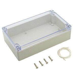 LeMotech ABS プラスチック ジャンクションボックス 防塵 防水 IP65 電気ボックス グレー ユニバーサル プロジェクトエンクロージャケース PC透明 クリアカバー付き(200mmx120mmx55mm) 200mmx120mmx56mm