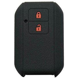 スズキ スマートキーシリコンカバー 2ボタン車リモートキー ケース 新型スイフト/新型ワゴンR/新型ワゴンRスティングレー/クロスビー(XBEE) など 専用設計でフィット感抜群! (ブラックレッド)