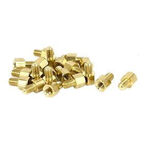 uxcell 六角スタンドオフスペーサー 六角メスオススペーサー 20個入り ゴールドトーン ブラス M4x5mm+6mm PCBの取付用