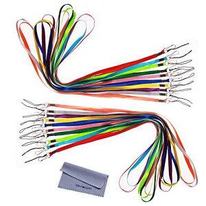 ネックストラップ Wisdompro 首かけ 落下防止 紛失防止 名札・USBメモリ・キー・マスコット・ホイッスル・笛用 平紐 ナイロン フック、松葉紐付き 20本組 多色 20本組 10色