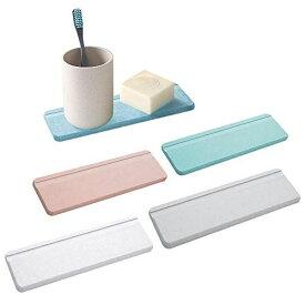 Seafirst 珪藻土石けんトレイ 石鹸置き 速乾 珪藻土コースター 歯ブラシスタンド 入浴用品トレイ 洗面台カップ置き 吸水 消臭 グレー