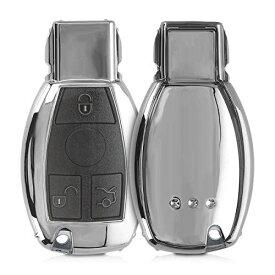 kwmobile Mercedes Benz 用 カーキー ケース - TPU製 フルボディ車の鍵 カバー フルプロテクション 耐衝撃 傷防止 光沢 シルバー