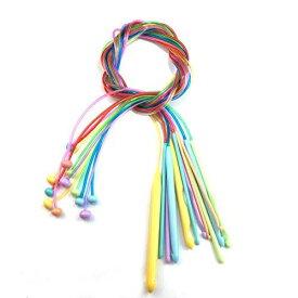 12本 かぎ針 プラスチック製 輪針 手芸 手編み 針 毛糸編み針 カラフル 編み針 編み棒 セット