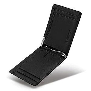 SHINPACK マネークリップ 小銭入れ付き メンズ 財布 二つ折り 7枚カード入れ 札ばさみ レザー オールブラック