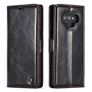 Galaxy Note9 ケース 手帳型 マグネット カード収納 スタンド機能 耐衝撃 全面保護 高級感 合革 本革感触 シンプル おしゃれ