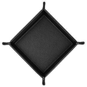 卓上用トレイ レザートレー アクセサリー 収納ケース トレイ 小物入れ 収納ボックス コイントレー 折りたたみ式 デスク用 レザートレイ おしゃれ ブラック