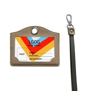 IDカードホルダー 横型 Timeskey NFC IDカードケース 本革 ネックストラップ付き 社員証・名札・定期入れ・パスケース 男女兼用ネームホルダ(合計カード2枚収納)【ライスグレー】
