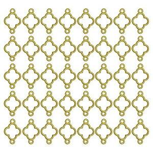 ミニレジン枠 空枠 MUNCVY フレーム パーツ ゴールド 40個 セット uvクラフト 大量 カン付き クローバー 四つ葉 セッティング アクセサリーパーツ から枠 ブレスレット ペンダント ハンドメイド