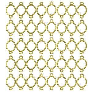 ミニレジン枠 空枠 MUNCVY フレーム パーツ ゴールド 40個 セット uvクラフト 大量 カン付き 楕円形 セッティング アクセサリーパーツ から枠 ブレスレット ペンダント ハンドメイド 手作り uvレ