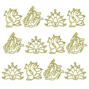 レジン枠 空枠 MUNCVY フレーム パーツ ゴールド 3種12個 セット uvクラフト 大量 カン付き 伝説の動物 和風 九尾の狐 龍 美しい セッティング アクセサリーパーツ から枠 ペンダント ハンドメイ