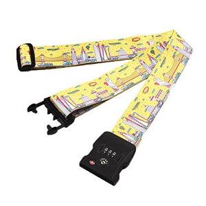 STL スーツケースベルト TSAロック搭載 一字型 長さ調節可能 荷物固定バックル 荷締めベルト 荷締バンド 旅行 出張 イエロー