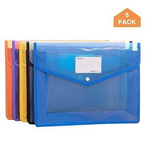 ファイルケース 5色 A4ファイル袋 大容量 プラスチック透明 防水 オシャレ 可愛い カラフル 資料 書類 整理収納 ボタン式 5個セット ((5個セット))