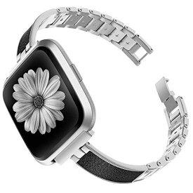 Fitbit Versa/Fitbit Versa 2 バンド,Wearlizer Fitbit Versa/Versa 2対応 Fitbit Versa メタル バンド Fitbit Versa金属バンド Fitbit Versa2バンド 調整工具付き(シルバー)