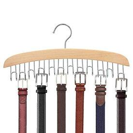 ベルトハンガー Konten ハンガー ネクタイハンガー 12本収納 ベルト収納 ベルト掛け 帽子 小物 掛け 360度回転 (黄) 12本掛け ナチュラル