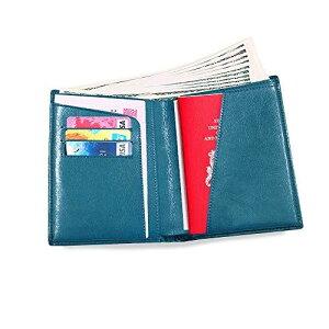 パスポートケース 本革 通帳ケース 出張用 パスポートホルダー パスポートカバー 海外旅行 牛革 カードケース 多機能収納 パスポートポーチ 大容量 (グリーン)