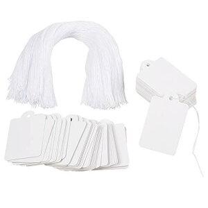 500枚 45x28mm 白い矩形 無地 スパン糸付き手製のカード 荷札シール 値札 紙の値札 衣類価格タグ メッセージタグ プレゼント ファンタジー 単語カード プライスカード クラフト メモ ラベル DIY