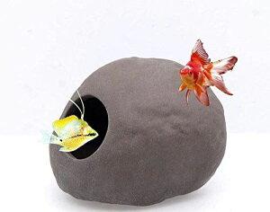 Uotyle水槽 オブジェ アクアリウム オーナメント 金魚・熱帯魚・爬虫類 隠れ家 石 インテリア おしゃれ 自然石状型 (S- 7 x 8 x 6 cm)