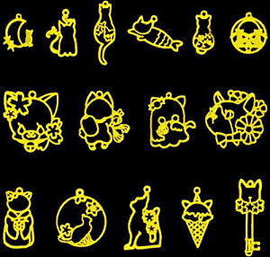 ANPHSIN 空枠 レジン枠-15個 猫 枠 フレーム uvクラフト uvレジン 合金 手作り DIY デコ素材 ハンドメイド ジュエリー アクセサリーパーツ カン付き ペンダント セッティング 可愛い 大量 おしゃれ