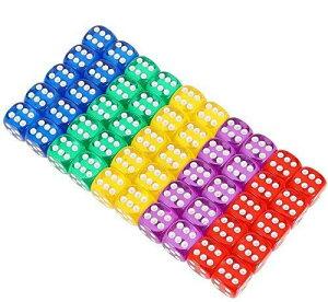 HOPELUCKIN 50個セット16mm サイコロ ラウンドコーナー 透明 6面ダイス 5色 (レッド、ブルー、黄色、紫色、グリーン)