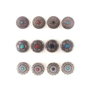 コンチョ ボタン バネホック ねじ式 アンティーク ターコイズ レザー 財布 手芸 バッグ飾り用ボタン ハンドメイド アンティークシルバー 12個セット