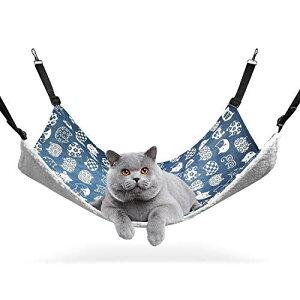 ComSaf 猫 ハンモック ベット ゲージ用 昼寝 夏冬両用 ヒモ調整可能 耐荷重10KG 56x48cm 子猫成猫適用 (ブルー猫) ブルー 猫