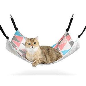 ComSaf 猫 ハンモック ベット ゲージ用 昼寝 夏冬両用 ヒモ調整可能 耐荷重10KG 56x48cm 子猫成猫適用(小さい三角形)