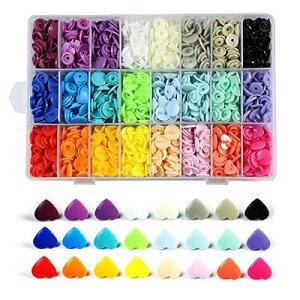 ANPHSIN スナップボタン -360set 24色 星形 ハート形 プラスナップ カラフル ブラスチック 手芸 diy 手作り 裁縫材料 (ハート)