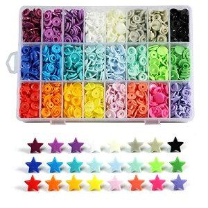 ANPHSIN スナップボタン -360set 24色 星形 ハート形 プラスナップ カラフル ブラスチック 手芸 diy 手作り 裁縫材料 (星)