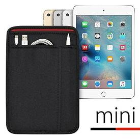 (ポケット付) iPad mini シリーズ用 JustFit スリーブケース (ブラック/レッド) Apple Pencil Lightningケーブルが収納出来る2つのポケット付 専用設計だからジャストフィット iPad mini2/3/4/5(2019)対応 ブラック&レッド