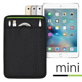 (ポケット付) iPad mini シリーズ用 JustFit スリーブケース (ブラック/グリーン) Apple Pencil Lightningケーブルが収納出来る2つのポケット付 専用設計だからジャストフィット iPad mini2/3/4/5(2019)対応 ブラック&グリーン