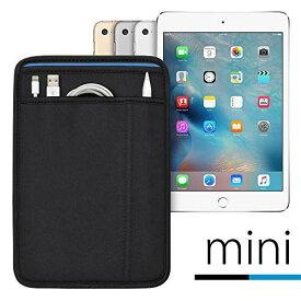 (ポケット付) iPad mini シリーズ用 JustFit スリーブケース (ブラック/ブルー) Apple Pencil Lightningケーブルが収納出来る2つのポケット付 専用設計だからジャストフィット iPad mini2/3/4/5(2019)対応 ブラック&ブルー