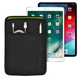 iPad 11インチ/10.9インチ/10.5インチ/10.2インチ (Pro/Air) 用 JustFit スリーブケース (ブラック/グリーン) ApplePencil や充電ケーブル等が収納出来る2つのポケット付 専用設計だからジャストフィット IPP105JFSCBG iPad 11/10.9/10.5/10.2インチ 用 ブラック&グリーン
