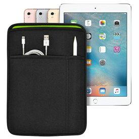 iPad (9.7インチ) Pro/5th/6th/Air2 対応 JustFit スリーブケース (ブラック/グリーン) Apple Pencil Lightningケーブルが収納出来る2つのポケット付 専用設計だからジャストフィット IPP97JFSCBG iPad 9.7インチ(Pro・5th/6th・Air2)用 ブラック&グリーン