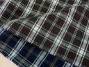 シャツやチュニックなどお洋服作りに♪ ネイビーとブラウンの2色 薄手の先染め綿麻チェック