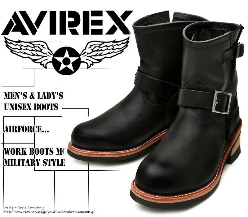 [AVIREX] アヴィレックス(アビレックス) AV-2225 HORNET ホーネット Black ブラック メンズ&レディース 本革 ライダースブーツ ショート エンジニアブーツ