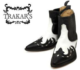 [TRAKAR'S] トラッカーズ 14304 Black-Liz×White ブラック×ホワイト メンズ レディース 本革 ウエスタンブーツ ショートブーツ
