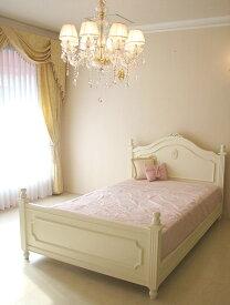 輸入家具 オーダー家具 プリンセス家具 レディメイ セミダブルベッド バレエシューズの彫刻 ホワイト