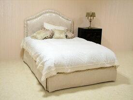 輸入家具 プリンセス家具 ファブリックベッド シングルサイズ リボンとブーケ柄オフホワイト