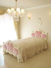 輸入■オーダー家具■プリンセス家具■オードリー■女優ベッド■ベルベット■ベビーピンクの張り地■シングルサイズ