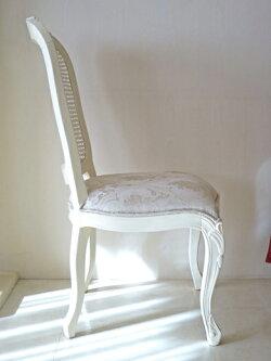 アウトレット■輸入家具■ラ・シェル■ダイニングチェア■ビバリーヒルズの彫刻■背;ラタン座;花かご柄ゴールド■ホワイト■2脚セット