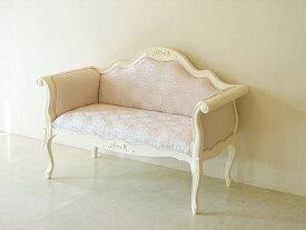 輸入家具 オーダー家具 プリンセス家具 カウチソファ 両肘タイプ ホワイト色 オードリーリボンの彫刻
