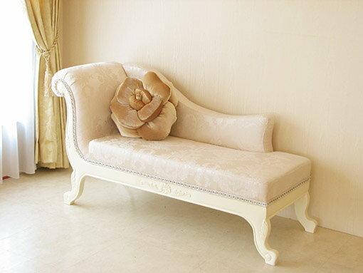 輸入家具■オーダー家具■プリンセス家具■薔薇の令嬢ソファ■シェルの彫刻■ホワイト色■リボンとブーケ柄オフホワイト