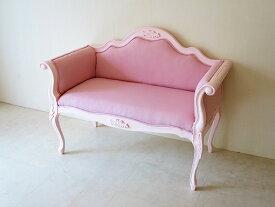 輸入家具 オーダー家具 プリンセス家具 カウチソファ 両肘タイプ 薔薇の彫刻 ピンクドットモアレの張地