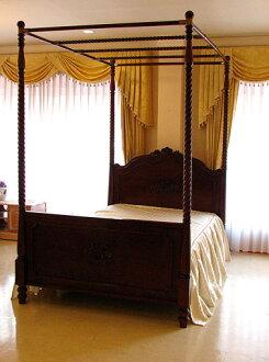 수입 가구■오더 가구■천개 침대■세미 더블 사이즈■비바 리&장미의 조각■브라운색