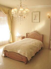 輸入家具 オーダー家具 プリンセス家具 ラ・シェル シングルサイズベッド シェルの彫刻 イニシャルT ピンクベージュ色