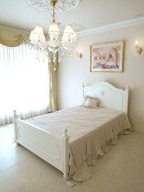 輸入家具 オーダー家具 プリンセス家具 レディメイ セミダブルベッド オードリーリボンとイニシャルRの彫刻 ホワイト色
