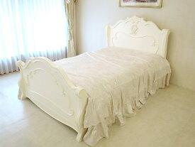 輸入家具 オーダー家具 プリンセス家具 ラ・シェル セミダブルベッド オードリーリボンとイニシャルMの彫刻 ホワイト色