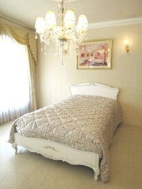 輸入家具 オーダー家具 プリンセス家具 プリマヴェーラ セミダブルベッド ヘッドボード板張り塗装仕上げ オードリーリボンの彫刻 ホワイト&ブラックアンティーク色