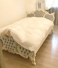 輸入家具 オーダー家具 プリンセス家具 女優ベッド オードリー セミダブルサイズ シェルの彫刻 アンティークホワイト&ゴールド色